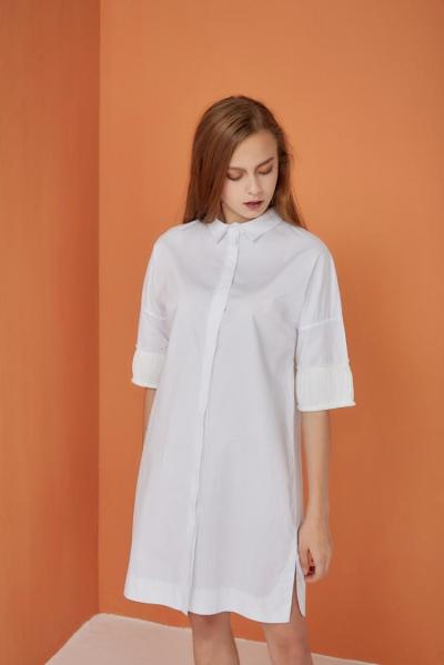 DROP-SHOULDER SHIRT DRESS 长版溜肩衬衫裙